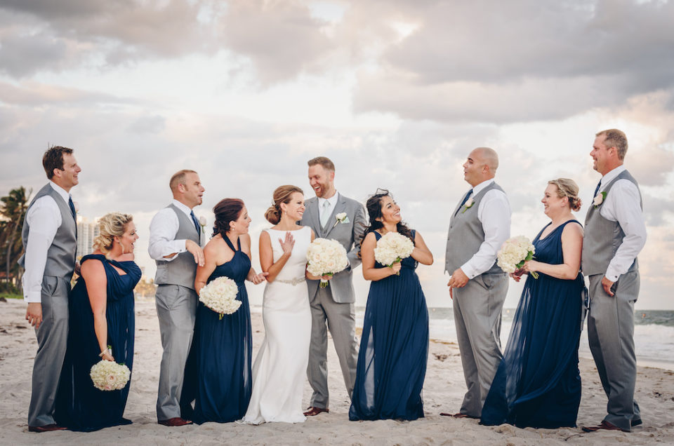 White florals and Ocean views at Pelican Grand Resort Wedding